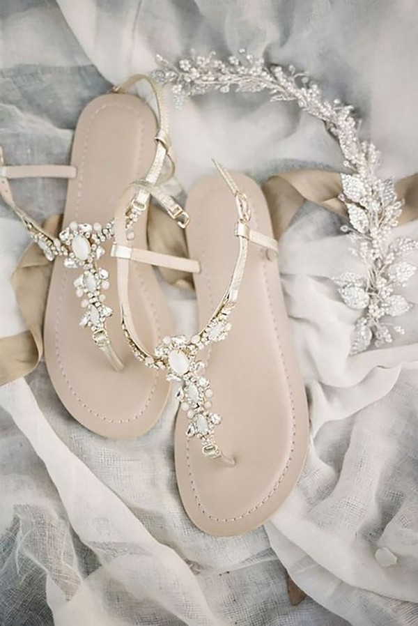 elegant neutral bridal sandals