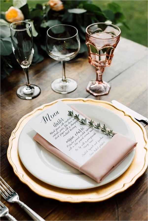 elegant pink and gold wedding table settings