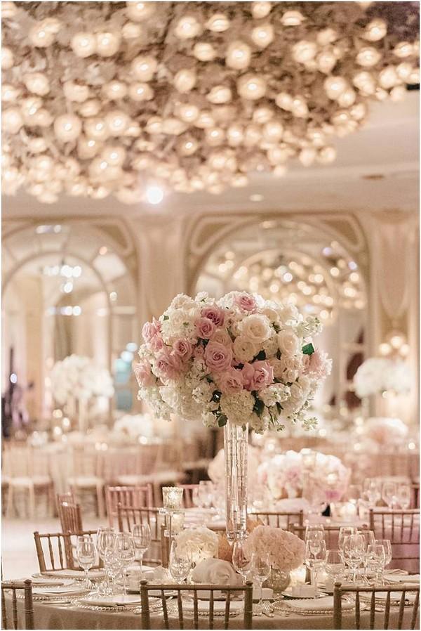 elegant pink wedding table settings