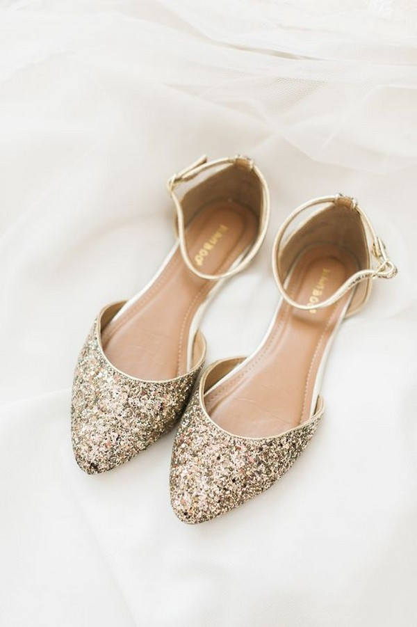 glitter gold bridal shoes