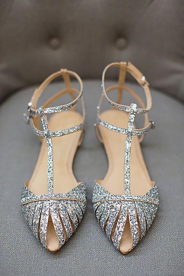 glitter silver stylish wedding shoes