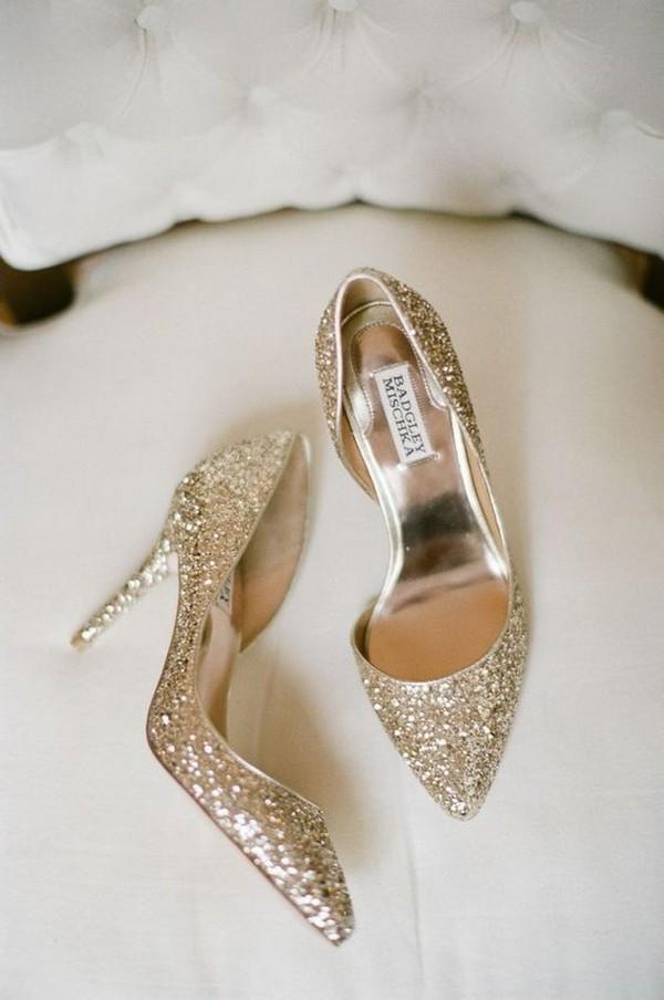 glittering gold wedding shoes Badgley Mischka