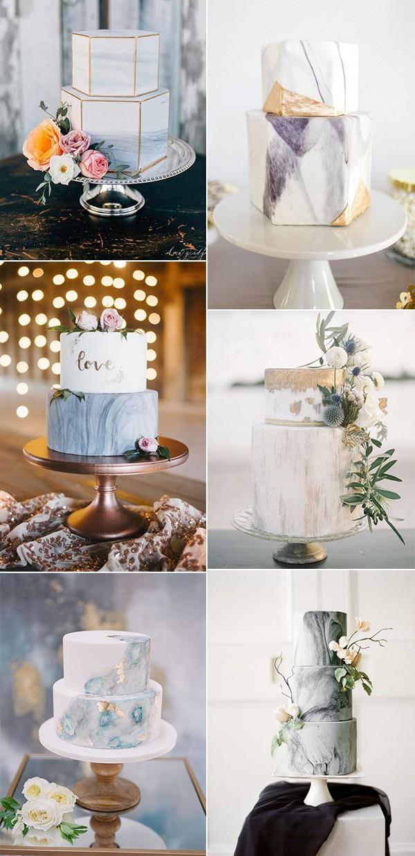 modern marble wedding cakes