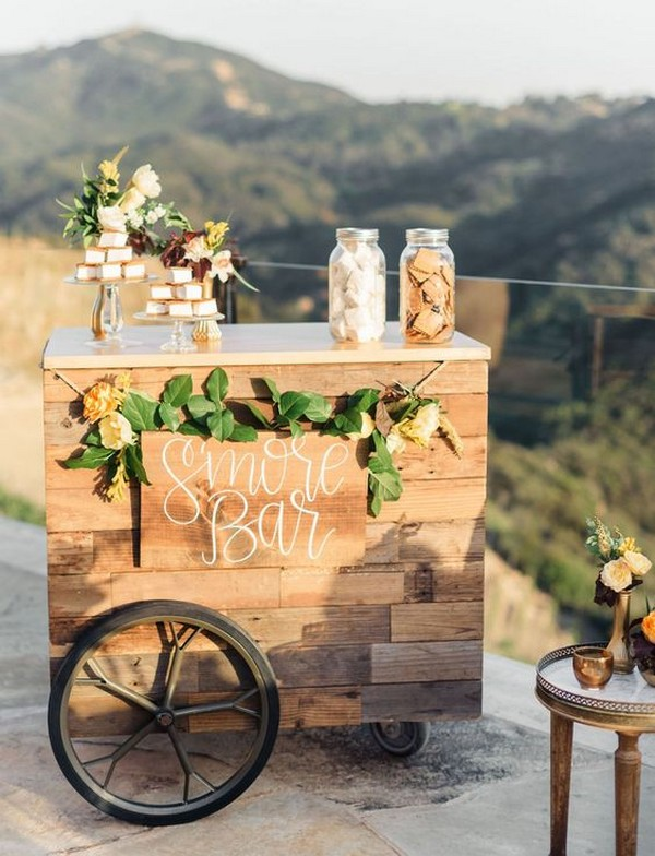 outdoor wedding S'mores Bar display ideas