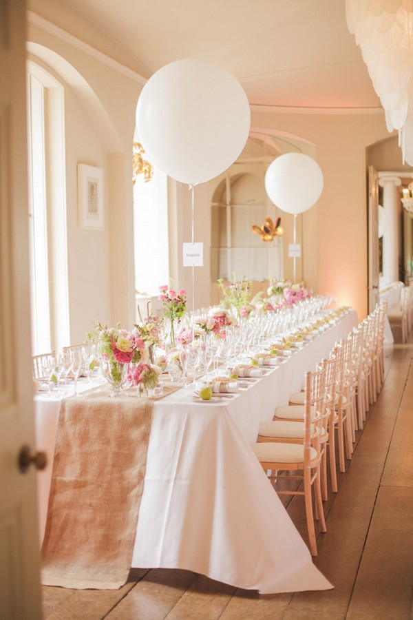 pink and green wedding reception ideas with balloons