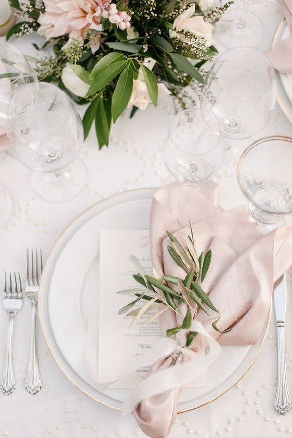 pink and greenery elegant wedding table settings