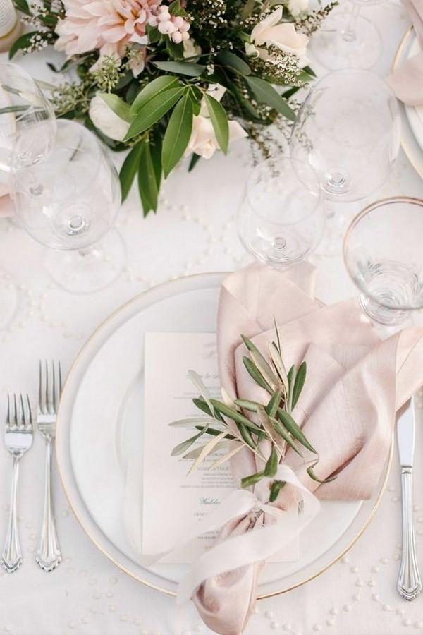 pink and greenery elegant wedding table settings