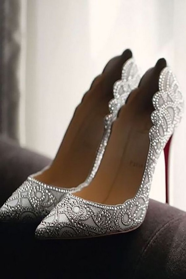 pointed silver bridal shoes