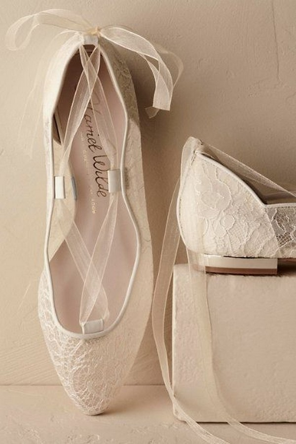 20 adorable flat wedding shoes for 2018 emmalovesweddings romantic lace wedding flats junglespirit Image collections