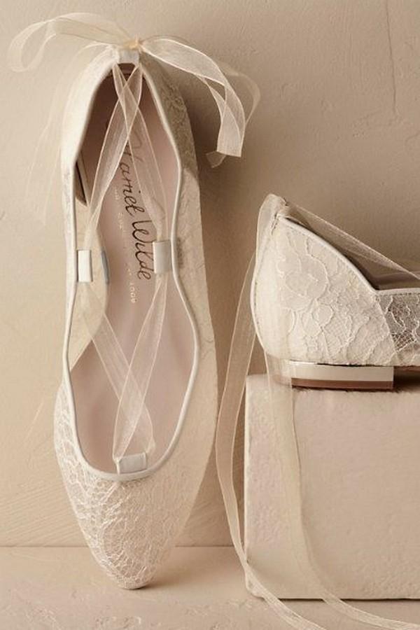 romantic lace wedding flats