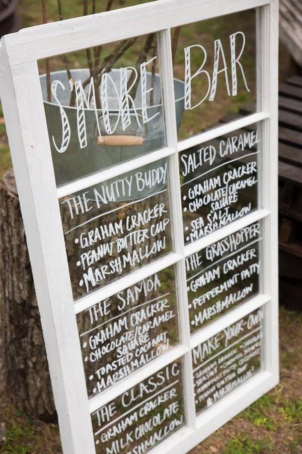 rustic S'mores Bar wedding sign ideas