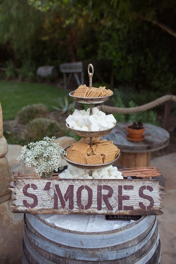 rustic wedding S'mores Bar food station ideas