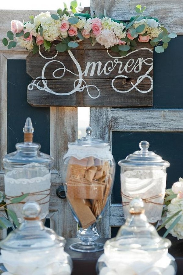 rustic wedding S'mores Bar ideas