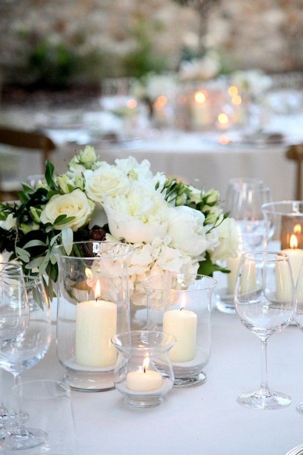 Simple But Elegant White And Green Wedding Table Setting Ideas
