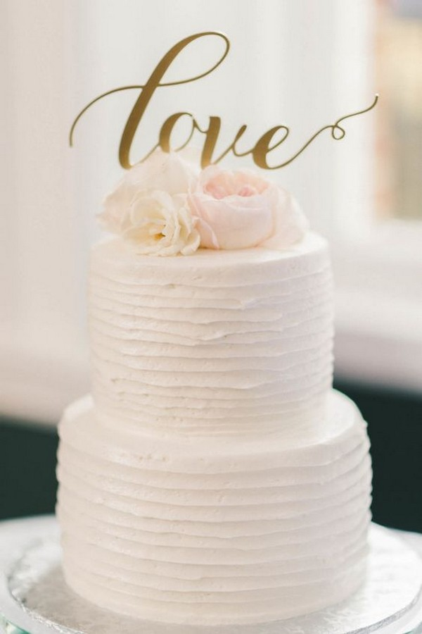 15 simple but elegant wedding cakes for 2018 emmalovesweddings simple wedding cake with calligraphy topper junglespirit Gallery