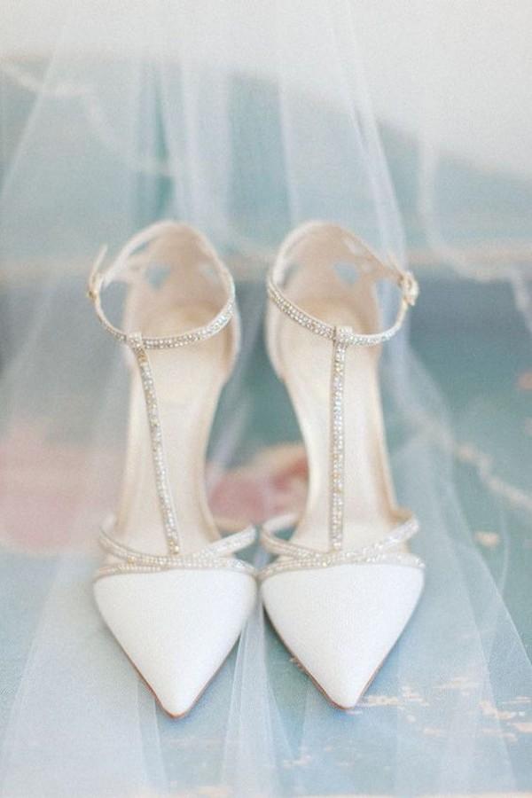 stylish ivory and silver beaded wedding shoes
