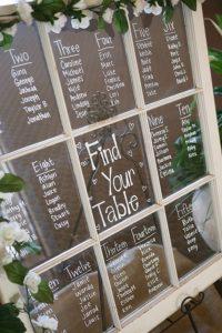 vintage wedding seating chart ideas with old windown - EmmaLovesWeddings
