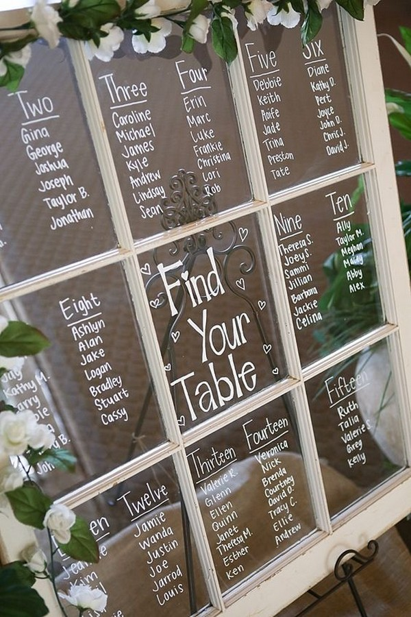 vintage wedding seating chart ideas with old windown - EmmaLovesWeddings