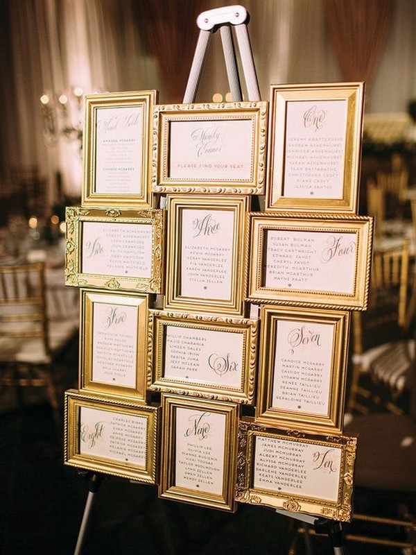 vintage wedding seating plan ideas with gold frames