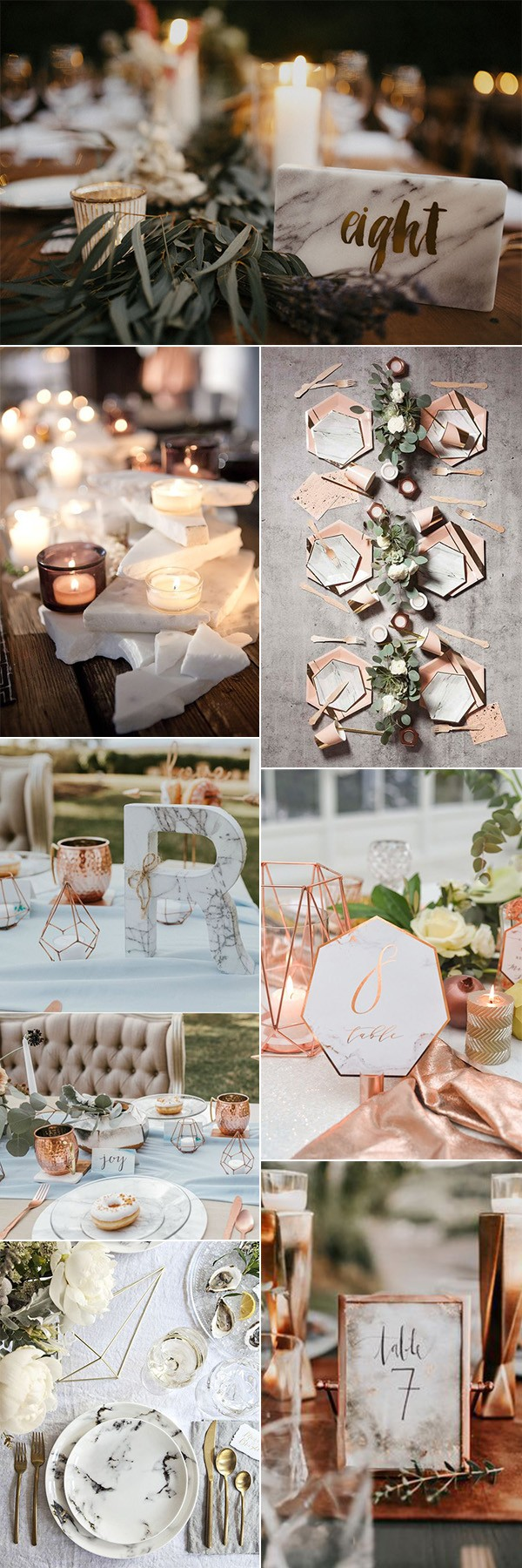 wedding table decoration ideas with marble