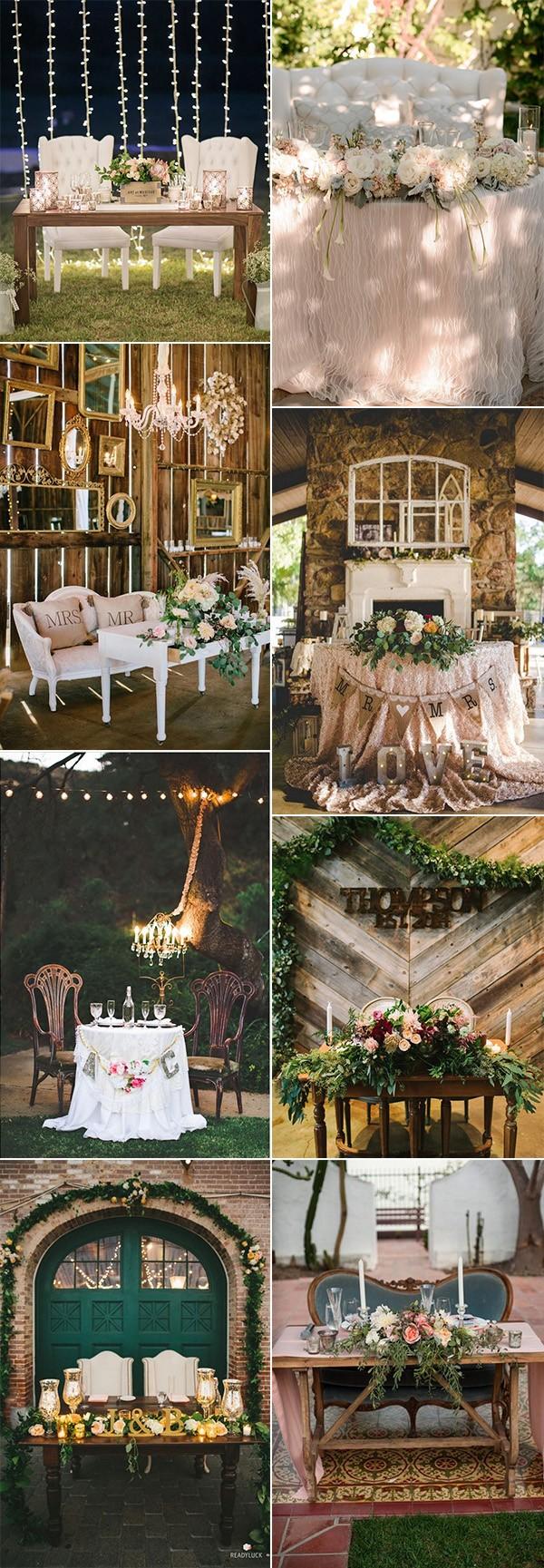 2018 trending vintage sweetheart table decoration ideas
