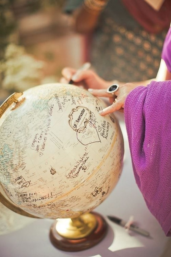 Globe guest book ideas for travel themed wedding