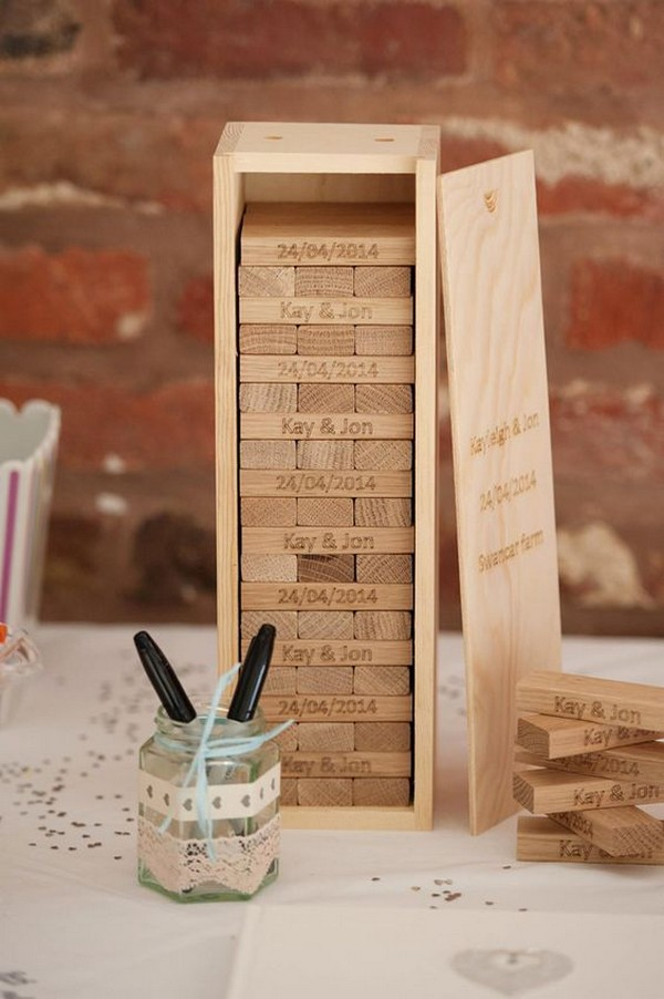 Jenga inspired wedding guest book ideas