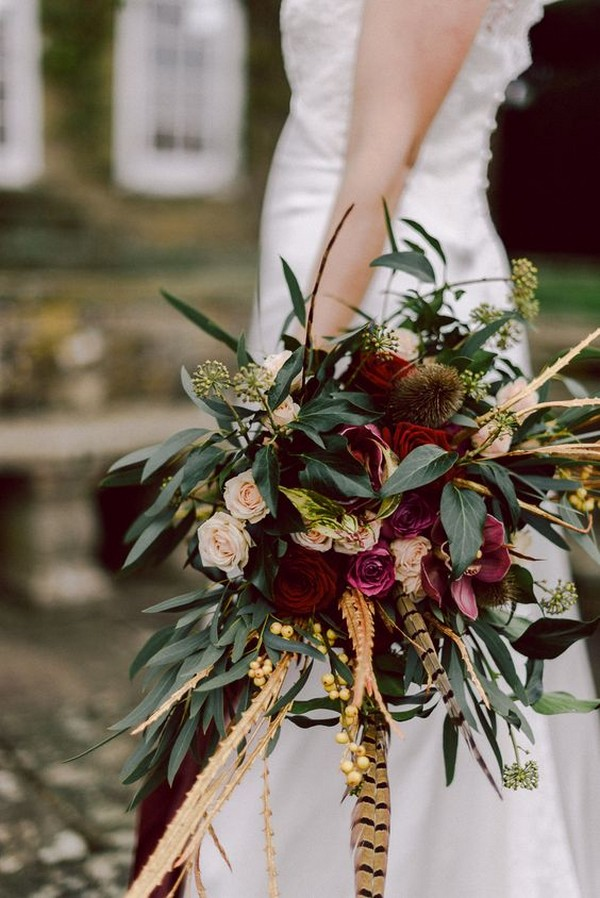 Marsala Wedding Bouquet with Pheasant Feathers & Greenery
