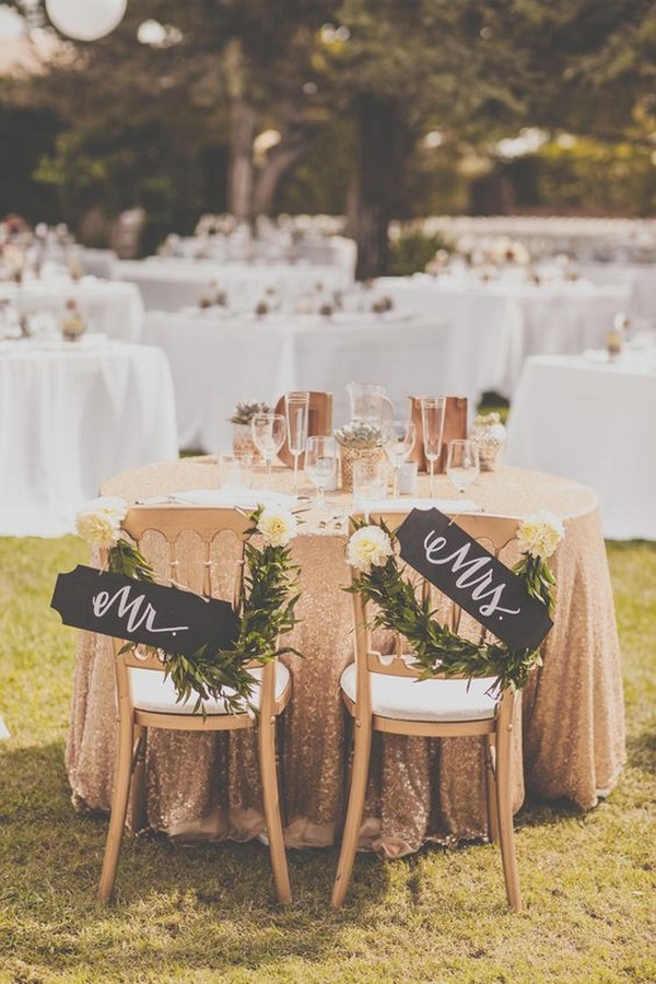 Mr. & Mrs. vintage sweetheart table ideas
