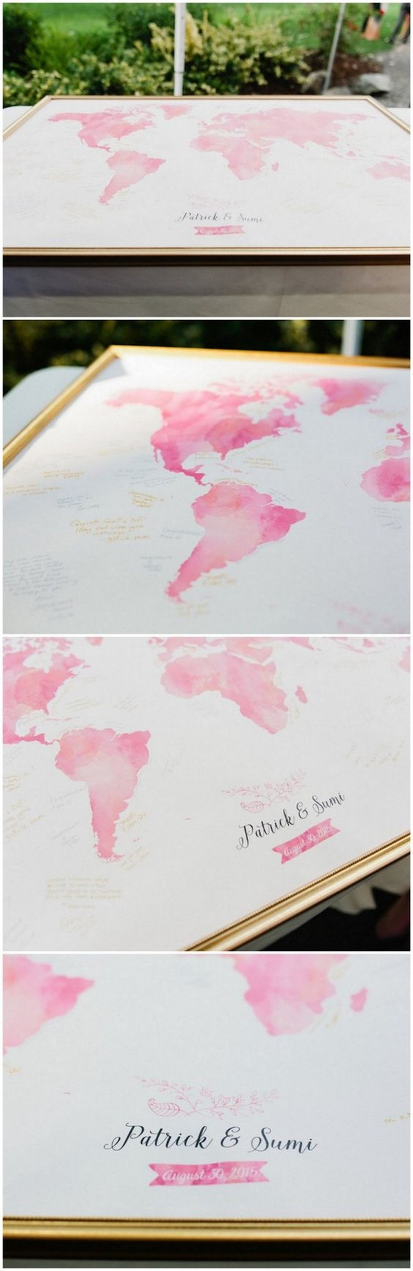 Pink Watercolor Wedding Map Guest Book