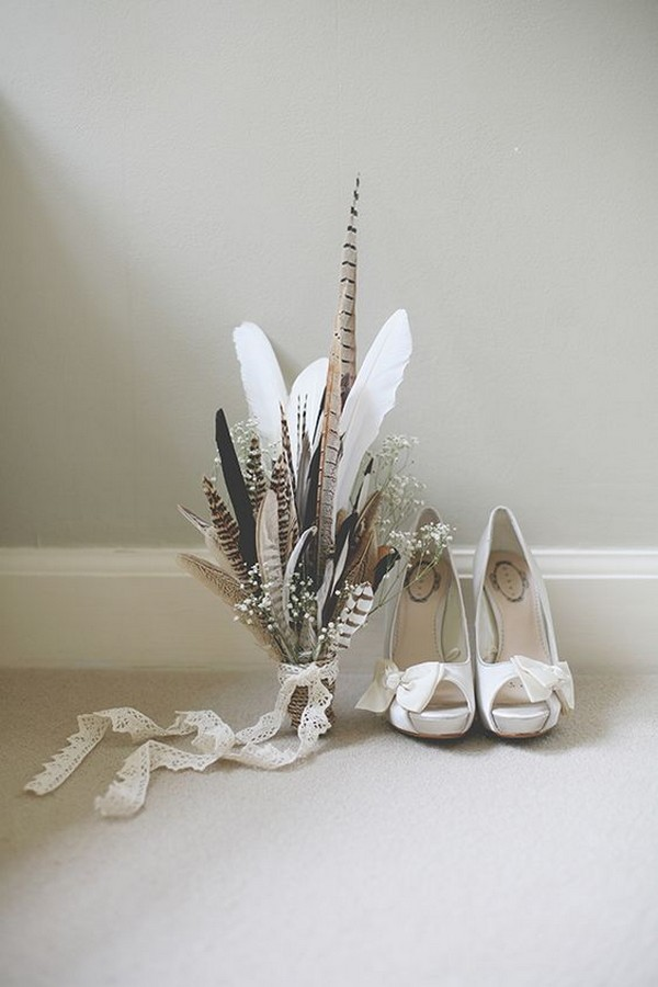 Relaxed Feather Wedding Bouquet