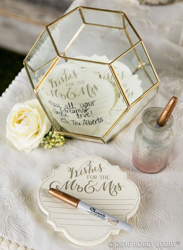 Use a terrarium to add instant style to guest book