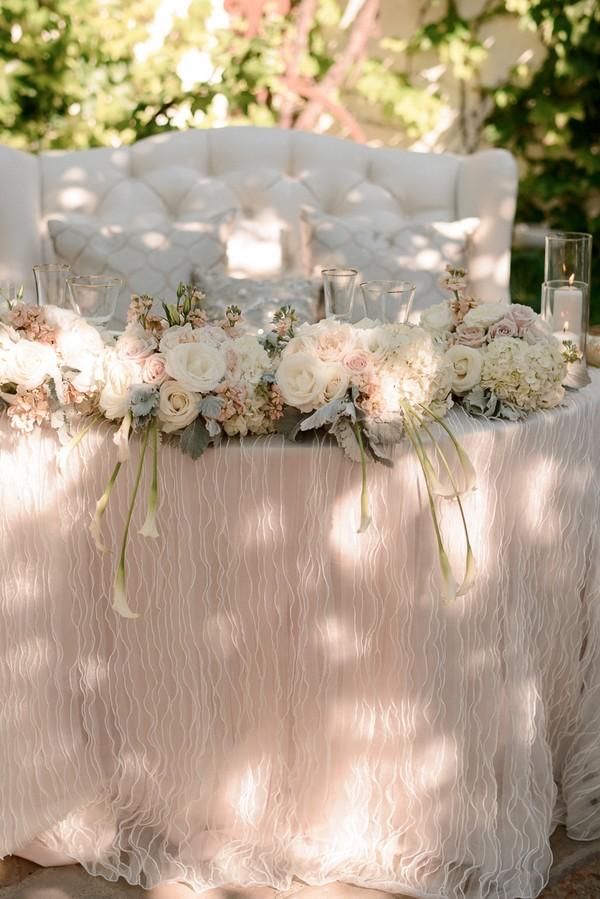 blush vintage wedding sweetheart table decoration ideas