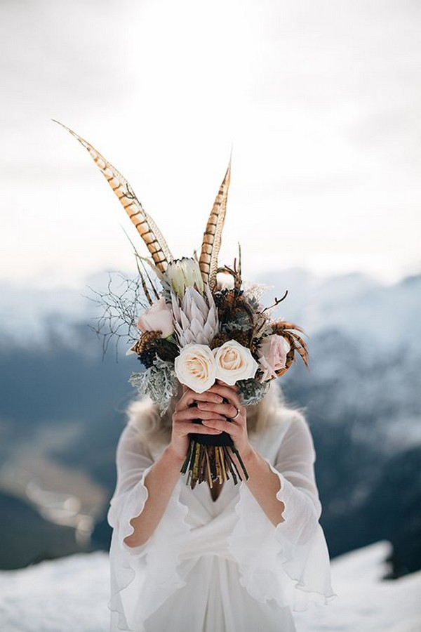 Boho Themed Wedding Bouquet Ideas With Feather Emmalovesweddings