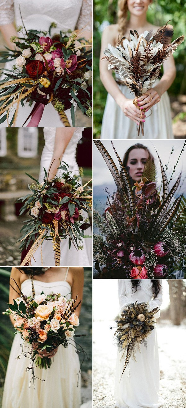 boho themed wedding bouquets with feathers