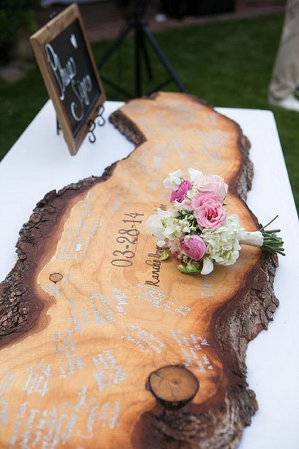 boho themed wooden guest book