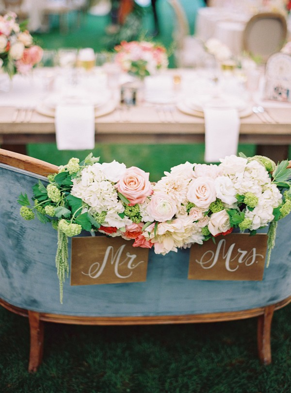boho vintage wedding sweetheart table decorations