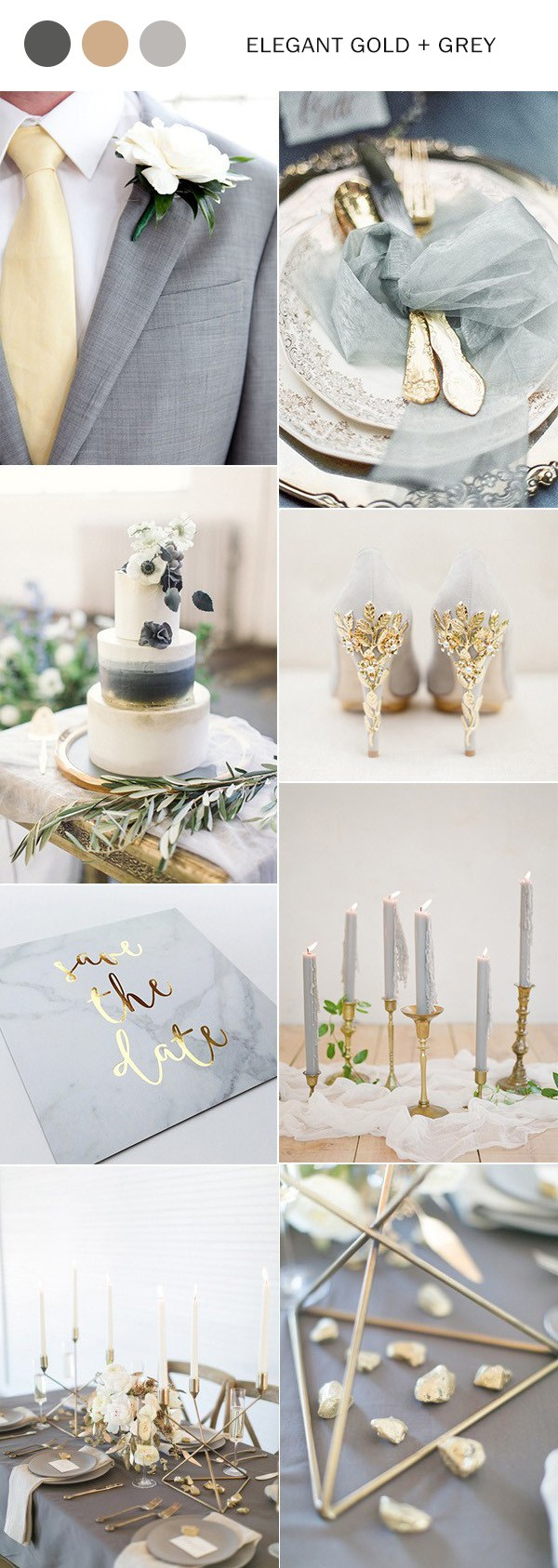 elegant gold and grey wedding color ideas for 2018