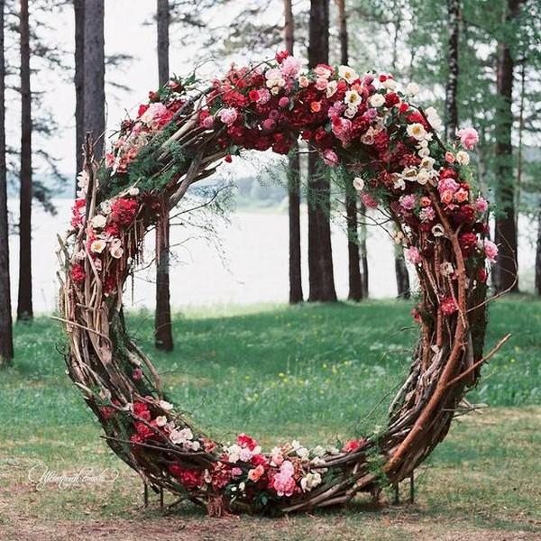 floral giant wreath wedding arch ideas