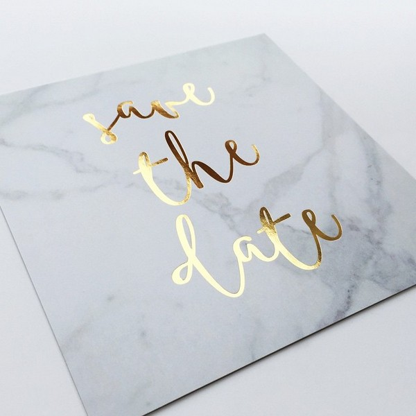gold and grey foiled save the date cards