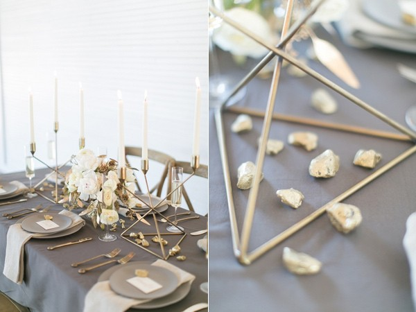 gold and grey wedding table settings