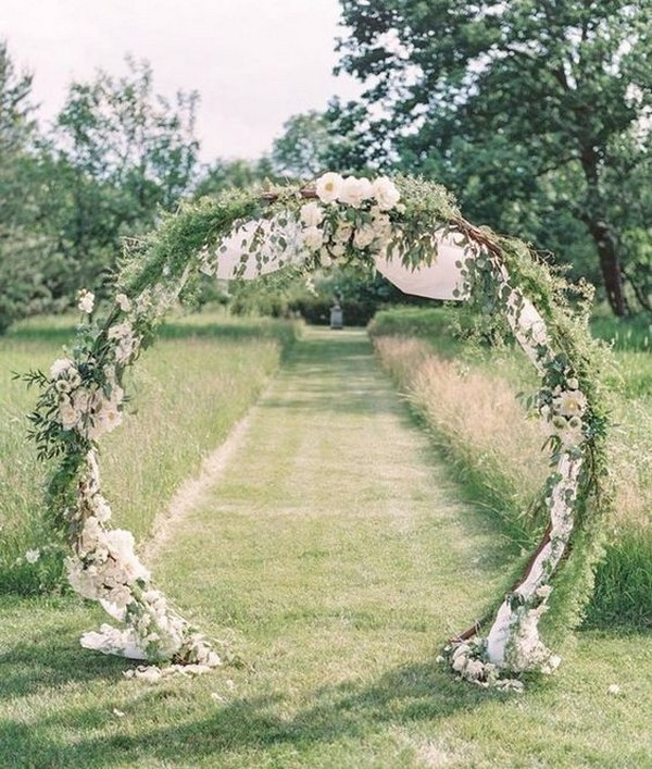 greenery circular floral wedding arch