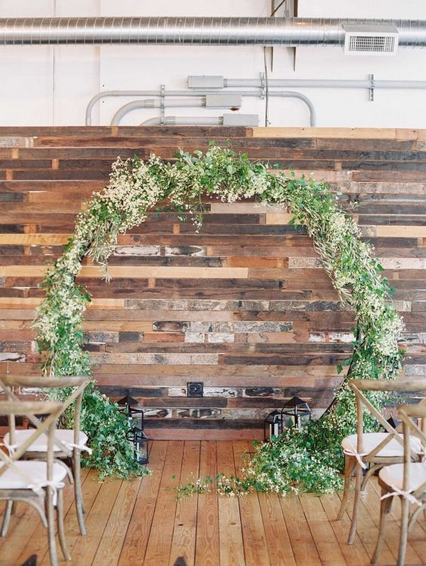 greenery circular wedding arch ideas
