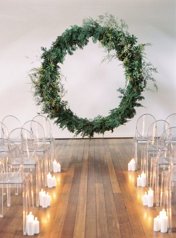 greenery giant wreath wedding arch