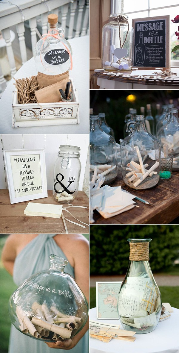 message in a bottle wedding guest book ideas