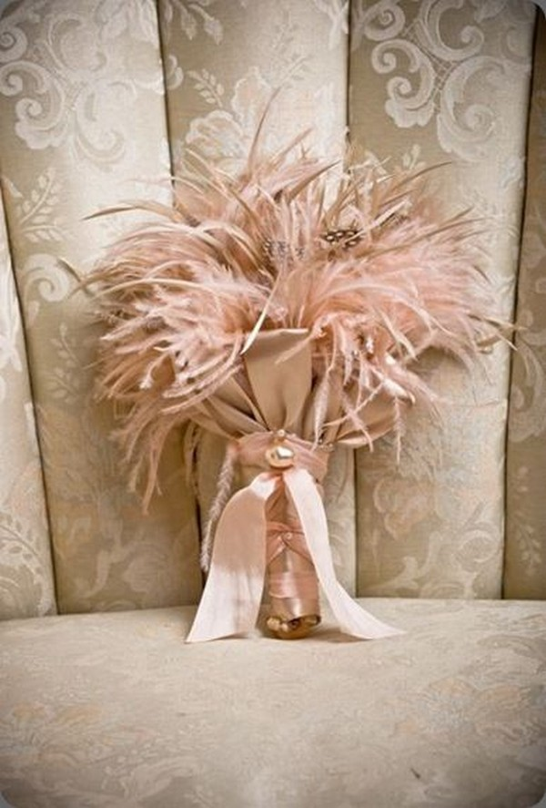 pink feather wedding bouquet ideas