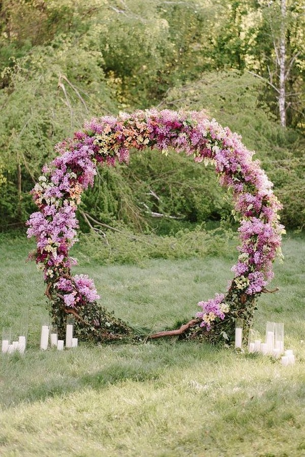 purple flower wreath wedding arch ideas