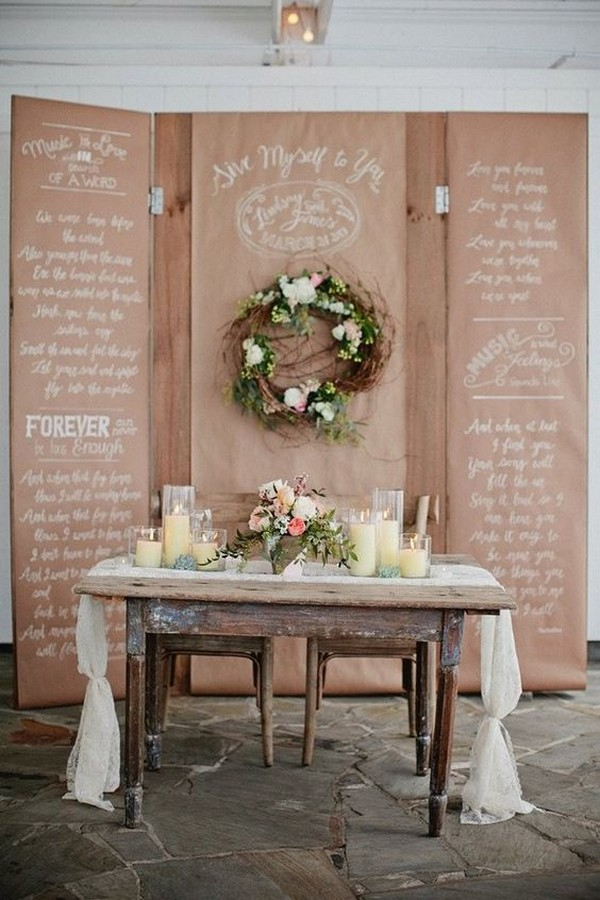 rustic vintage sweetheart table ideas