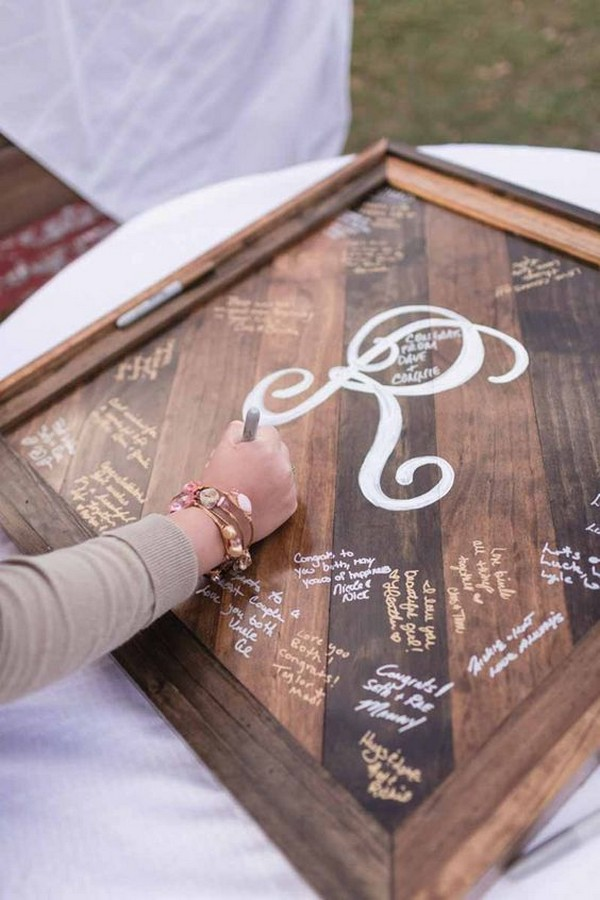 rustic wooden frame wedding guest book