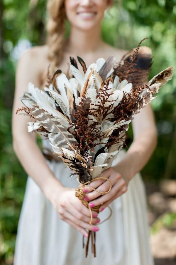 unique diy wedding bouquet with feathers
